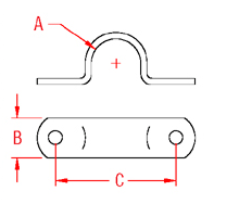 2 Hole Eye Strap  Drawing