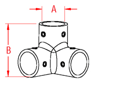 3 Way Rail Corner Drawing