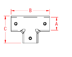 3 Way T Rail Drawing