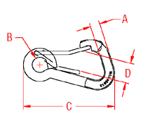 Asymmetrical Wire Lever Harness Clip Drawing