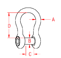 Bow Shackle with  No Snag Pin Drawing