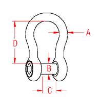 Bow Shackle with  No Snag Pin Drawing