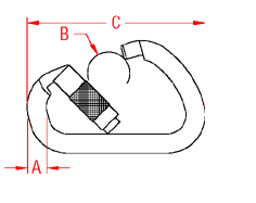 Extra Large Auto Lock Harness Clip Drawing
