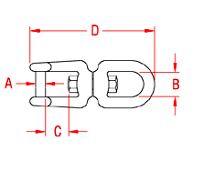 Eye and Jaw Swivel with  No Snag Pin Drawing