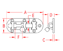 Heavy Duty Barrel Bolt Drawing
