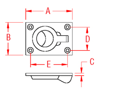 Heavy Duty Flush Lift Ring Drawing