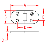 Heavy Duty Flush Table Hinge Drawing
