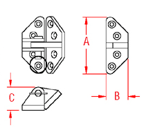 Heavy Duty Hatch Hinge   Angle Base Drawing