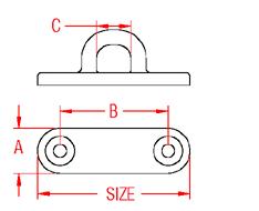 Heavy Duty Oblong Pad Eye Drawing