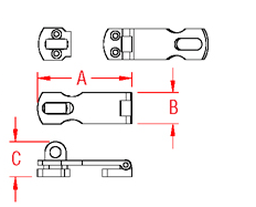 Heavy Duty Safety Hasp Drawing