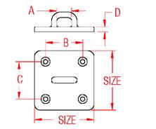 Heavy Duty Square Pad Eye Drawing