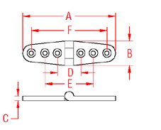 Heavy Duty Strap Hinge Drawing