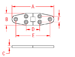 Heavy Duty Wide Strap Hinge Drawing
