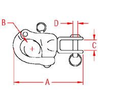 Jaw Swivel Snap Shackle Drawing