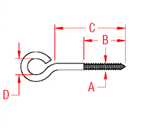Lag Eye Screw Drawing