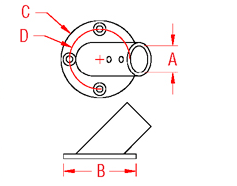 Round Rail Base   45 Degree Drawing