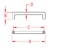 Solid  U  Shaped Handle Drawing
