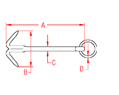 Stainless Steel Small Boat Hook Anchor Drawing