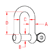 Straight D Shackle with  Captive Pin Drawing