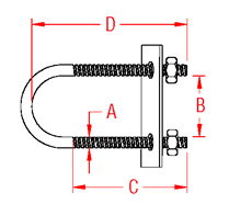 U Bolt with Plate Drawing