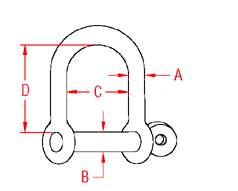 Wide D Shackle with  Screw Pin Drawing