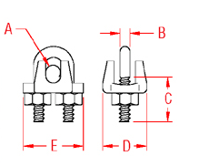 Wire Rope Clip Drawing 316 Stainless
