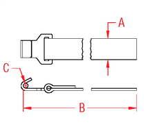 Webbing Assembly with Flat Hook Drawing