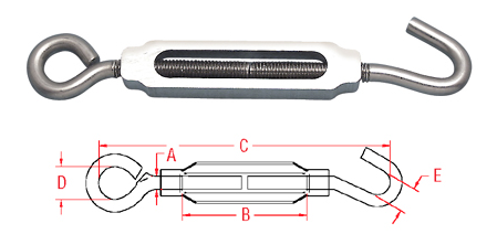 Hook & Eye Turnbuckle (Aluminum & Stainless) A0154-HE