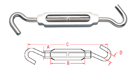 Hook & Hook Turnbuckle (Aluminum & Stainless) A0154-HH
